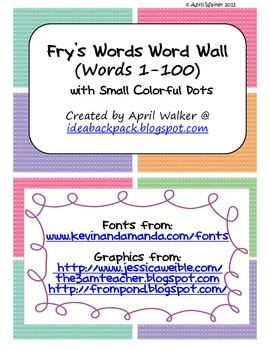 Fry's Word Wall Cards (Words 1-100)  with Smaller Colorful Dots