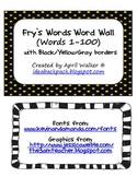 Fry's Word Wall Cards (Words 1-100) with black, yellow, and gray borders