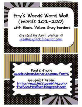 Fry's Word Wall Cards (Words 101-200)  with Black, Yellow, and Gray Borders
