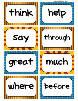 Fry's Word Wall Cards (Words 101-200)  with Blue, Yellow, and Red Borders