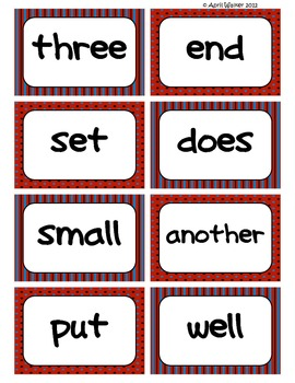 Fry's Word Wall Cards (Words 101-200)  with Red, Black, and Blue Borders