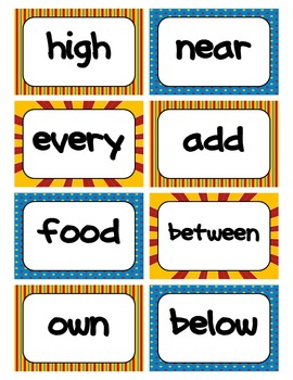 Fry's Word Wall Cards (Words 201-300)  with Blue, Yellow, and Red Borders