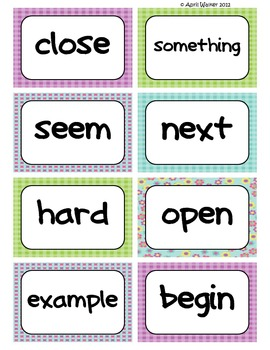 Fry's Word Wall Cards (Words 201-300)  with Purple, Blue, and Green Borders