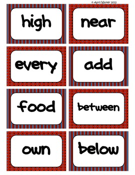 Fry's Word Wall Cards (Words 201-300)  with Red, Black, and Blue Borders