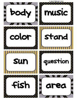 Fry's Word Wall Cards (Words 301-400)  with Black, Yellow, and Gray Borders