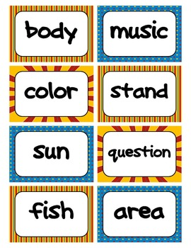 Fry's Word Wall Cards (Words 301-400)  with Blue, Yellow, and Red Borders