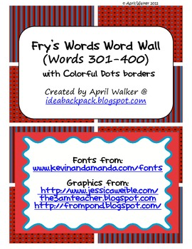 Fry's Word Wall Cards (Words 301-400)  with Red, Black, and Blue Borders