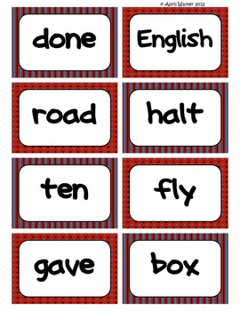 Fry's Word Wall Cards (Words 401-500)  with Red, Black, and Blue Borders