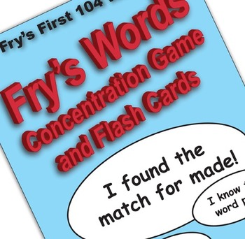 Fry's Words Concentration Game and Flash Cards