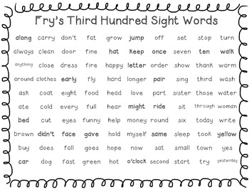 Fry's Words Lists Freebie