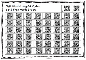 Fry's first 50 sight words with QR Codes Ipads Tablets