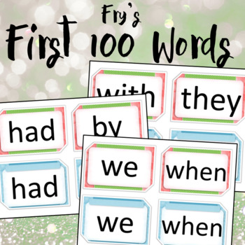 Frys first hundred words Pink,green and blue.