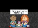 Frys sight word test 1-25