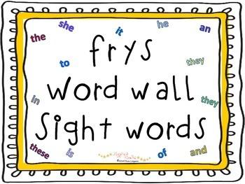 Frys word wall sight words 1-100
