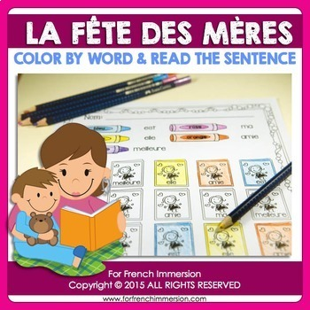 Fête des Mères - FRENCH Mother's Day Color by Word