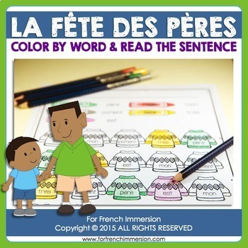 Fête des Pères - FRENCH Father's Day Color by Word