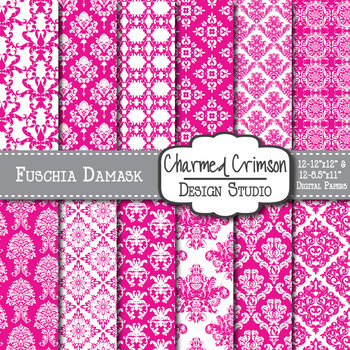 Fuchsia Pink Damask Digital Paper 1115