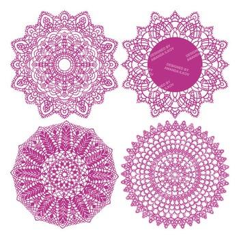 Fuchsia Round Lace Doilies - Lace Doily, Vintage Doilies