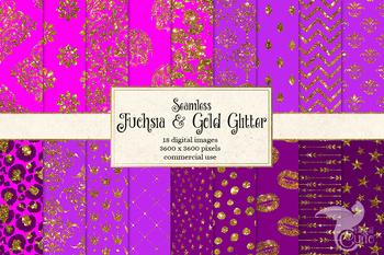 Fuchsia and Gold Glitter Digital Paper, seamless hot pink patterns