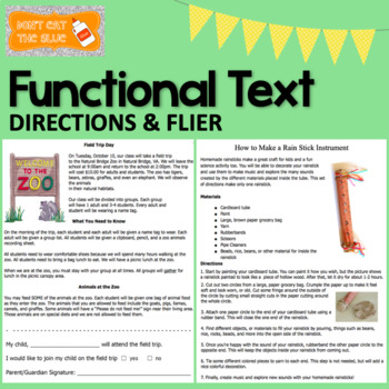 Fuctional Text: Flyer and Directions