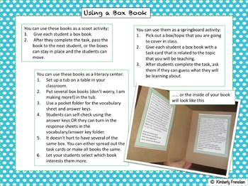Informational Text Literacy Center: Fudge Marble Cake Box Book