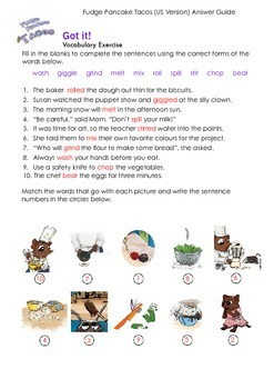THE SNIPS: Fudge Pancake Tacos Activity - Vocabulary Challenge 2 ANSWER KEY