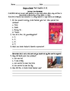 Fudge a Mania Test Chapters 5-8