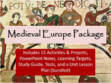 Fuedal Europe or Medieval Europe Unit Notes, Activities, & Test Bundle
