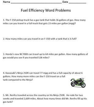 Fuel Efficiency Word Problems