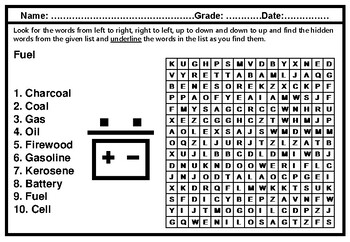 Fuel, Energy Word Search Worksheet, Vocabulary, No Prep Sub Plan