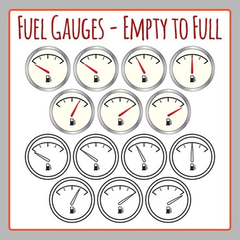 Fuel Gauges Empty to Full Racing Car Petrol Clip Art for Commercial Use
