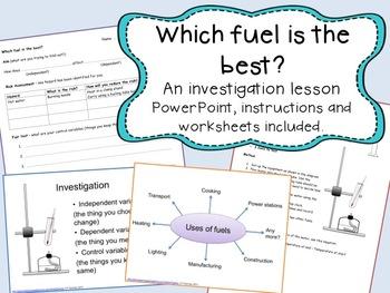 Fuel investigation lesson - comparing the temperature rise