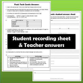 Fuels Task Cards - MS-ESS3-5