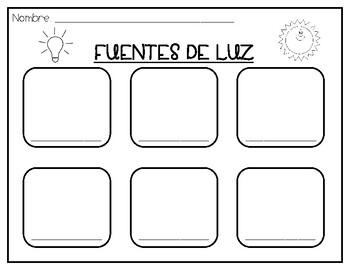 Fuentes de Luz Bilingual Light Sources Worksheet