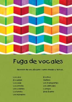 Fuga de vocales. Review vocabulary. (Spanish)