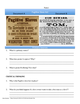 Fugitive Slave Act Political Cartoon Scaffolding