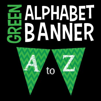 Complete Alphabet Green Chevron Pennant Banner with White Letters