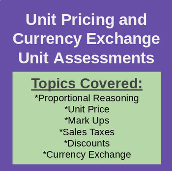 Full Assessment Bundle - Unit Price & Currency Conversion (Workplace Math 10)