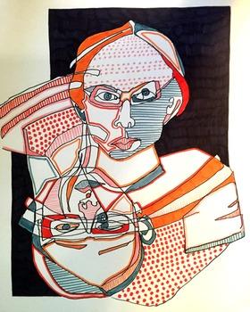 """Innovative Blind Contour Portrait """"With Flair!"""" - LP, PPT,"""