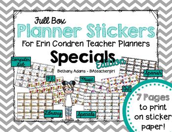 Full Box Planner Stickers for Erin Condren Teacher Planner ~ Specials Edition!
