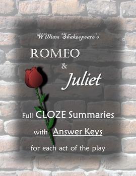 Romeo and Juliet CLOZE Summaries Bundle