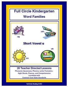 Full Circle Kindergarten - Short Vowel u Word Families