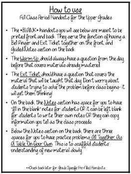 Full Class Period Handouts for the Upper Grades