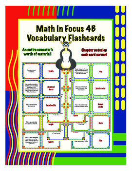 Full Bundled Collection of Fourth Grade Math in Focus Vocabulary Flashcards