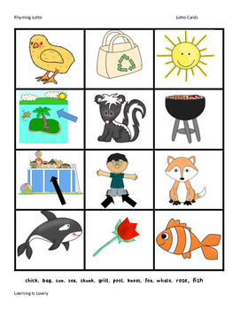 Full Color Rhyming Lotto Game With 54 Rhyming Pairs