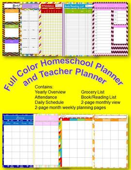 Full Color Teacher Planner or Homeschool Planner