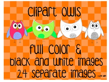 Full Color and Black &White Owl Clipart