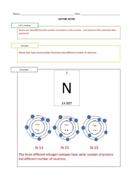 Isotopes Lesson - Opener, Interactive Notes, and Worksheet - Editable!