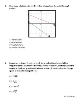 Full Length Mock Algebra 1 STAAR EOC (54 questions)