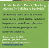 Full Lesson Plan: An Algebra Sandwich (Lots of Pics)